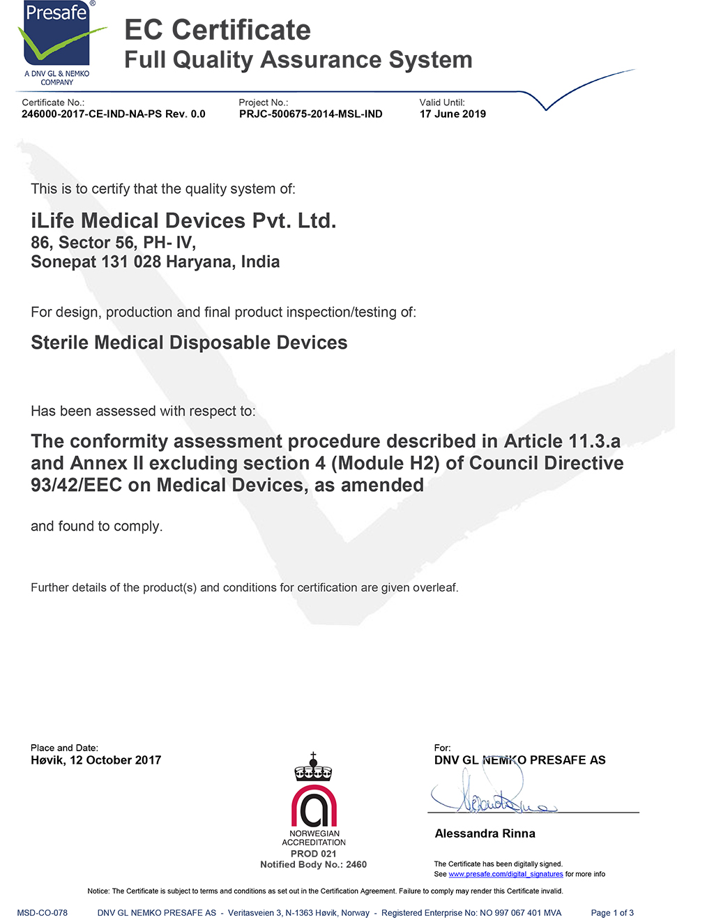 Certifications Ilife Medical Devices